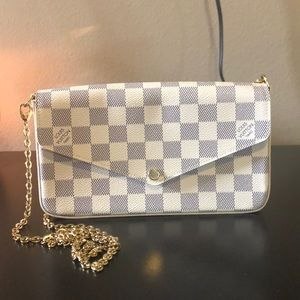 Authentic Pochette Felicie Damier Azur Canvas